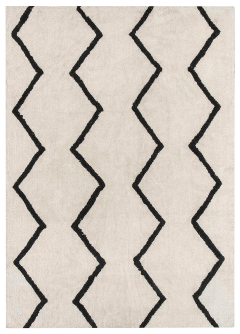 Hayley Black and Ivory Tribal Washable Berber Rug
