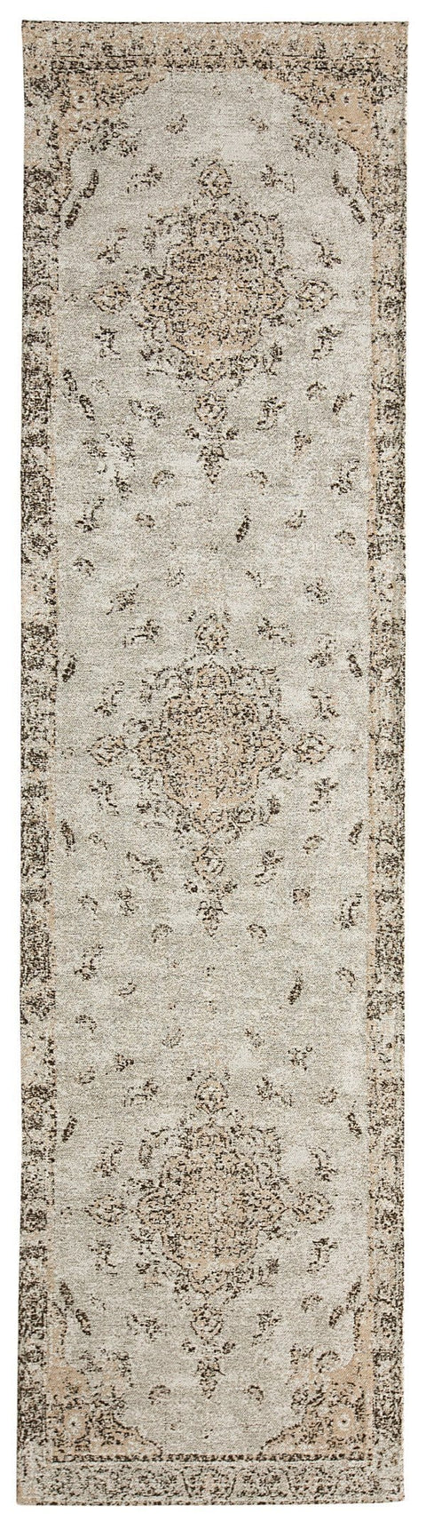 Helena White and Peach Turkish Style Distressed Runner Rug