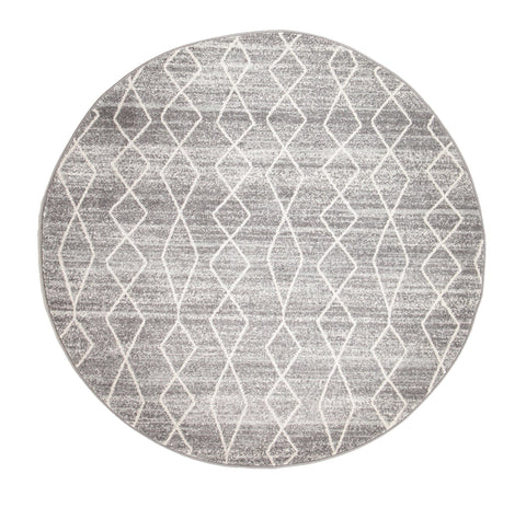 Hobokin Grey Diamond Distressed Round Rug