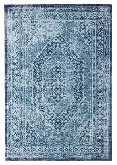 Isfara Blue Distressed Traditional Rug