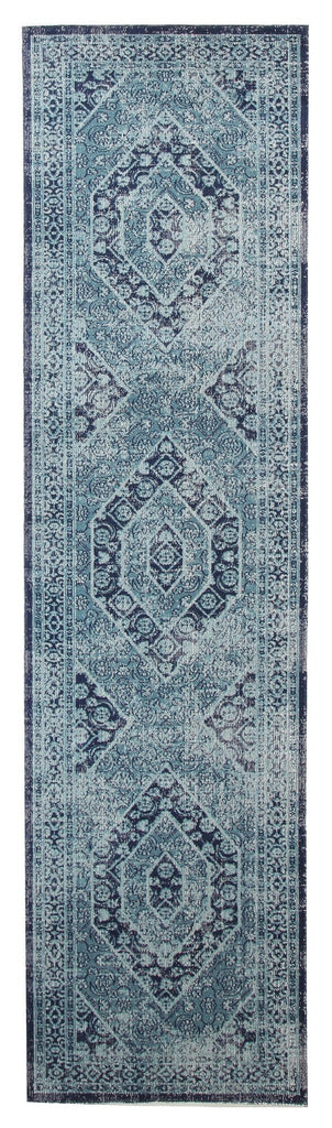 Isfara Blue Distressed Traditional Runner Rug