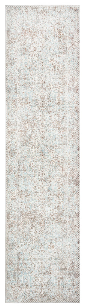 Isla Cream Grey and Blue Traditional Bordered Floral Runner Rug