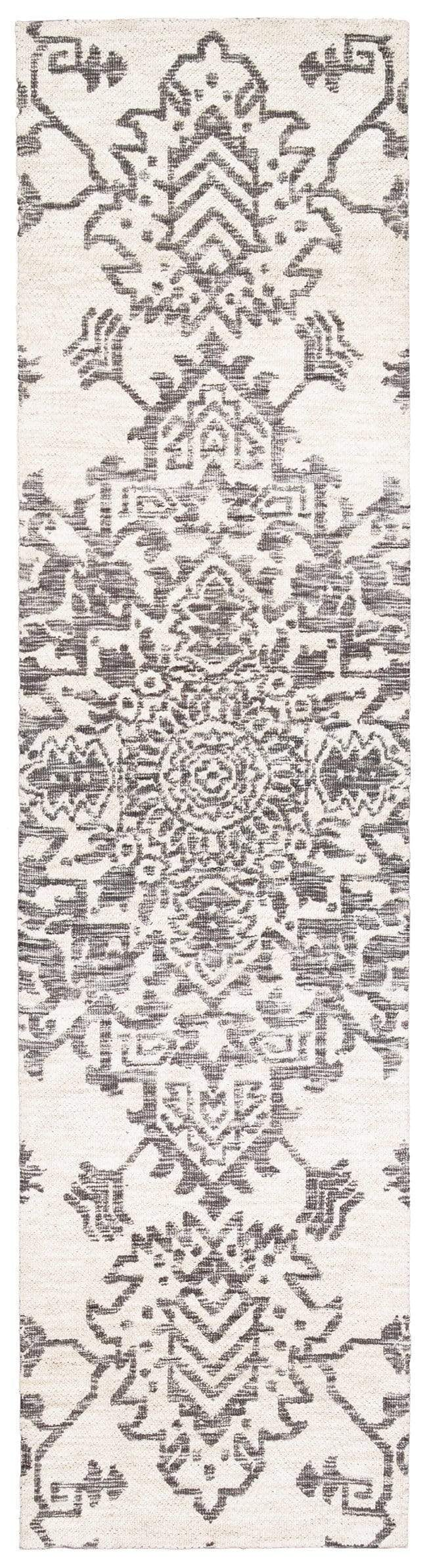 Issey Ivory and Grey Tribal Runner Rug