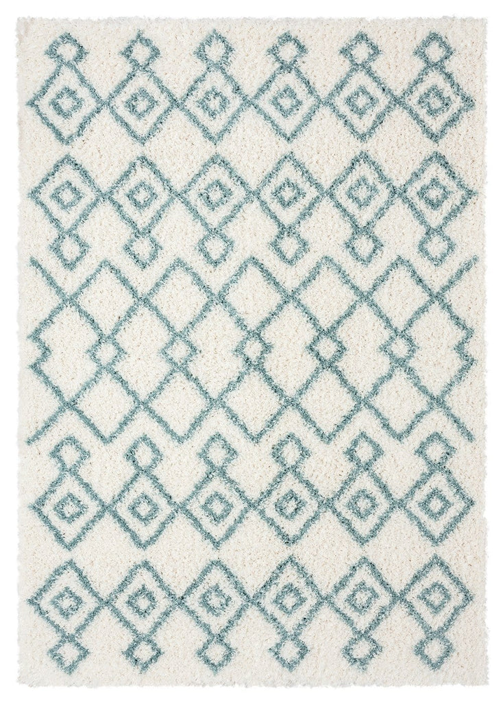 Jaira Ivory and Turquoise Blue Tribal Shag Rug