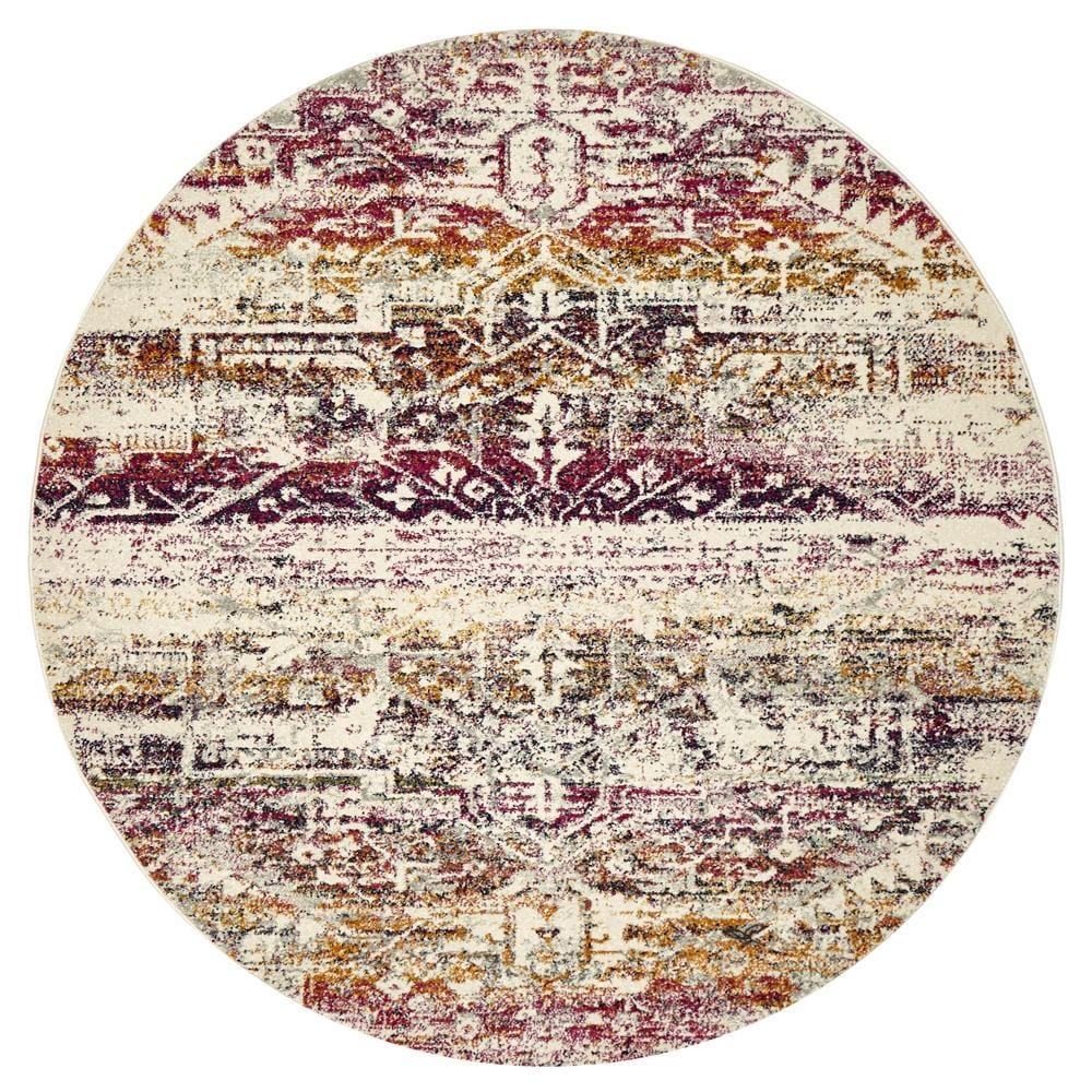 Jerez Fuschia and Purple Distressed Medallion Round Rug