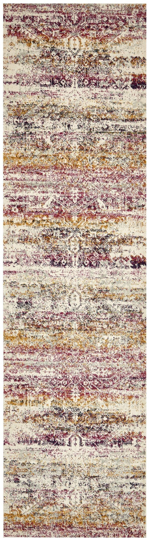 Jerez Fuschia and Purple Distressed Medallion Runner Rug