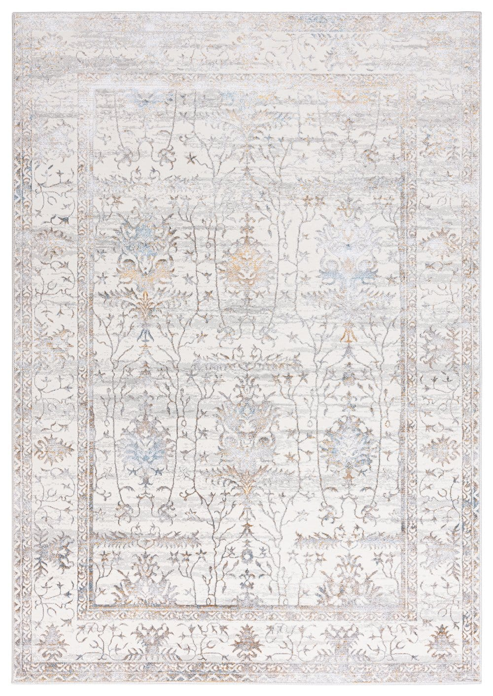 Jodhi Cream Blue and Tan Faded Traditional Rug