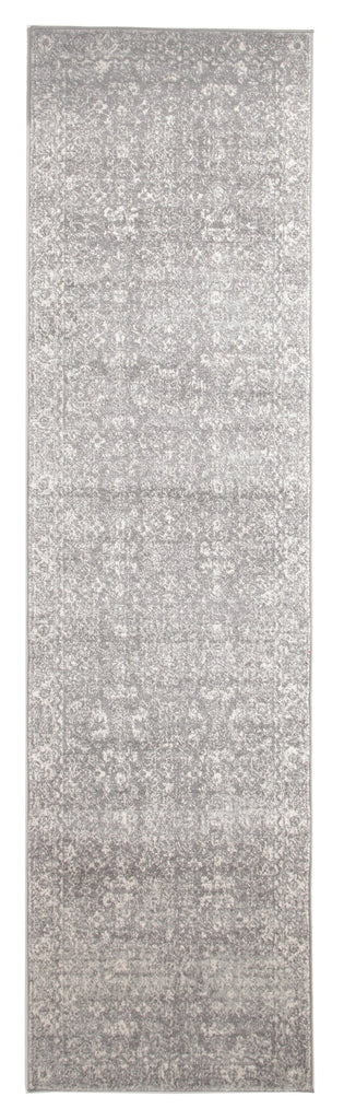 Karakol Grey and White Persian Pattern Runner Rug