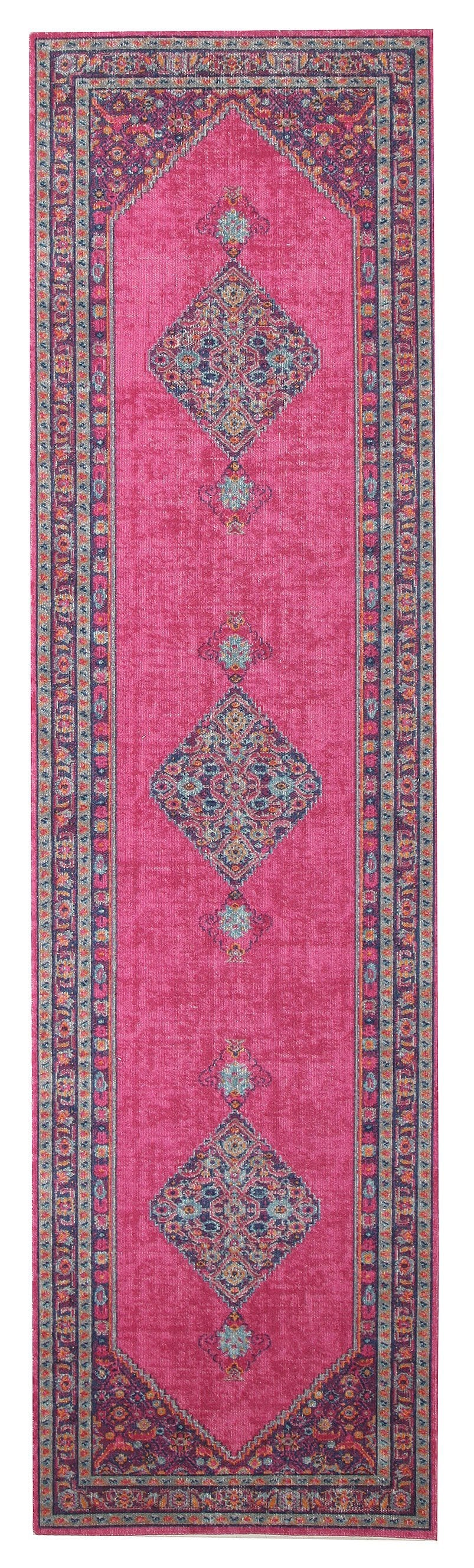 Kashan Pink Floral Medallion Distressed Runner Rug