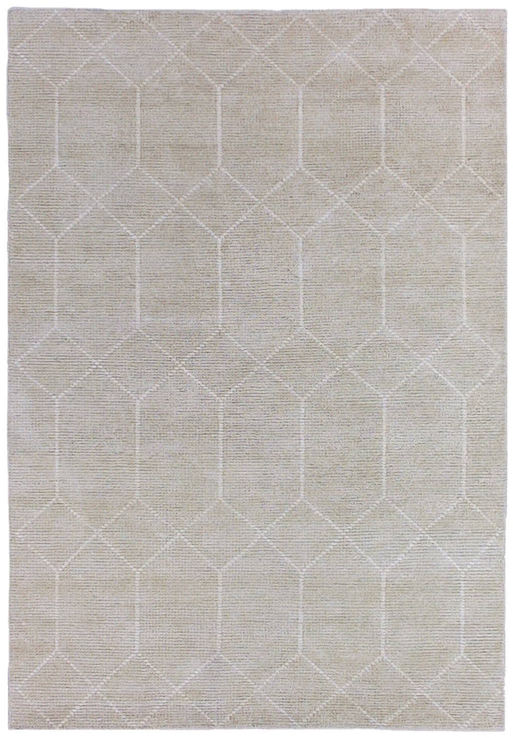 Kehra Hand Knotted Ivory and White Wool and Bamboo Rug