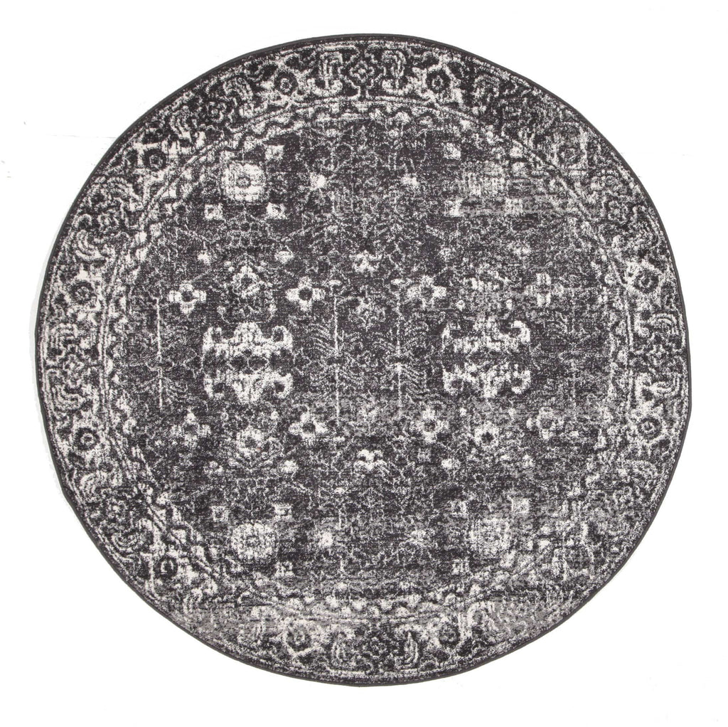 Kemin Black and White Persian Pattern Round Rug