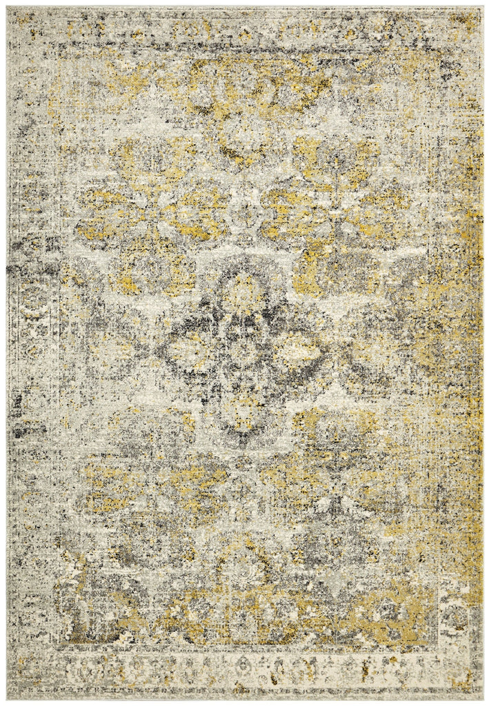 Khusus Grey and Yellow Distressed Floral Medallion Rug