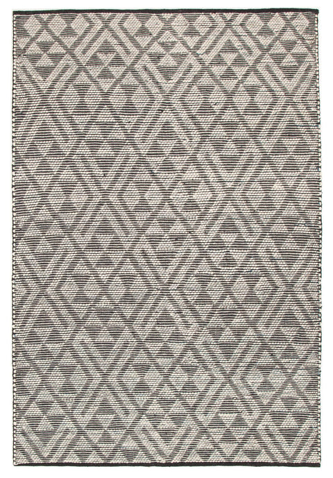 La Paz Denim Blue & Black Tribal Pattern Flatweave Rug