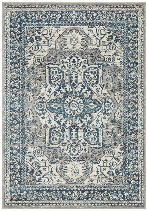 Laurent Blue & Grey Traditional Medallion Rug