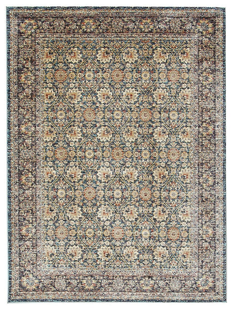 Leida Traditional Bordered Floral Rug