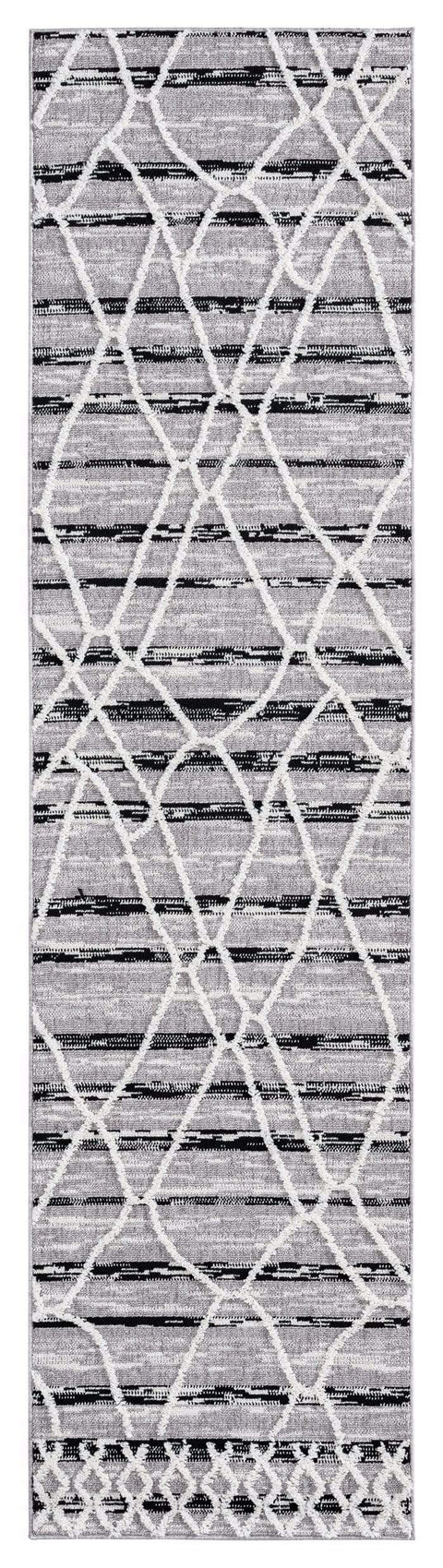 Lena Grey Black Abstract Textured Runner Rug