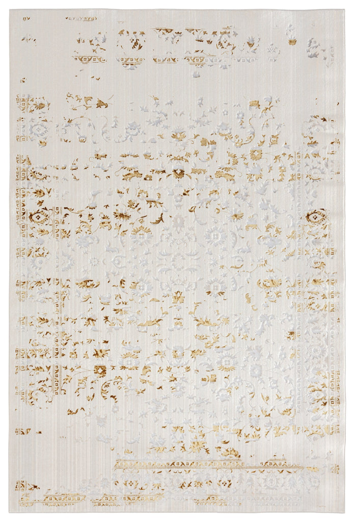 Lindy Cream Ivory and Gold Traditional Floral Rug