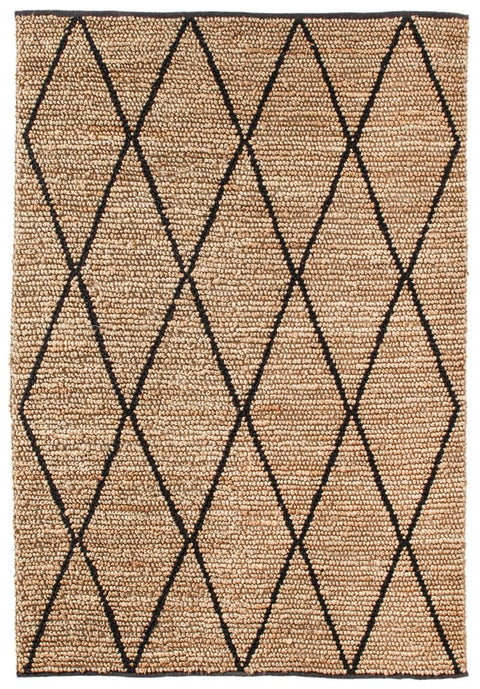 Livia Diamond Pattern Natural Hemp and Wool Rug