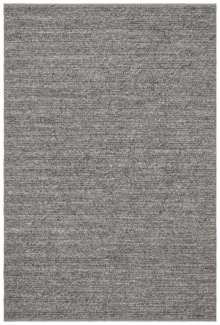 Lohja Steel Grey Chunky Knit Wool Rug