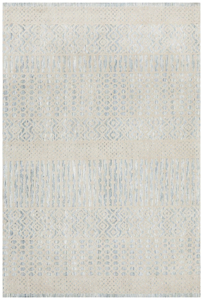 Maihar Blue and Cream Tribal Transitional Rug