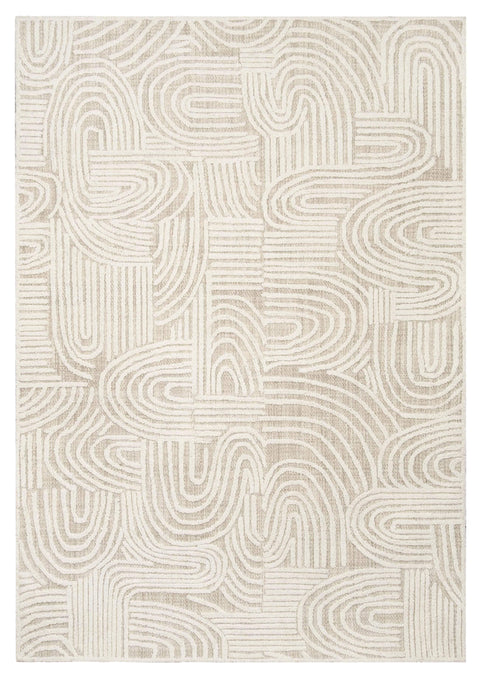Maisie Cream and Ivory Textured Tribal Rug