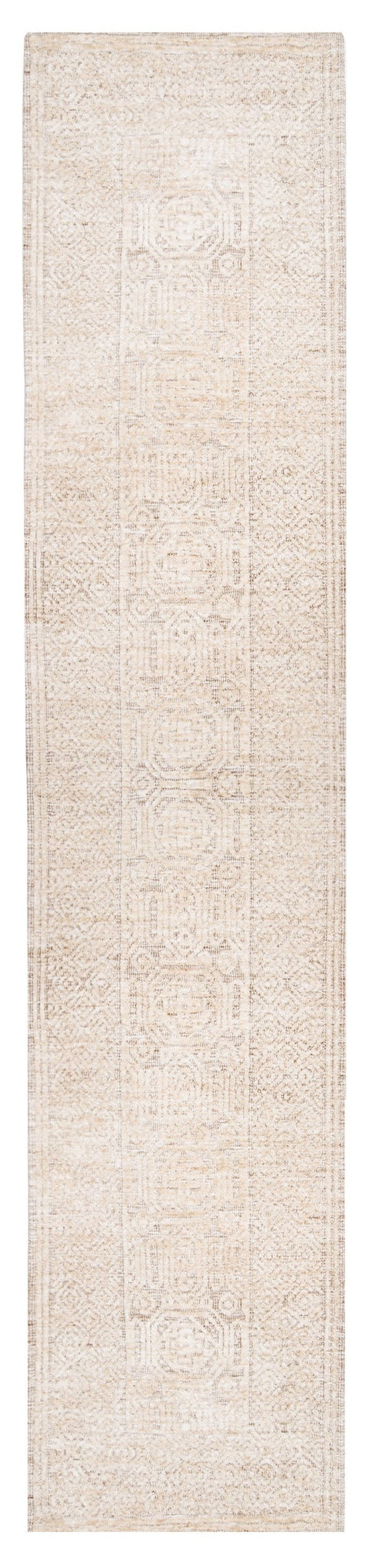 Makira Ivory Brown and Grey Tribal Textured Runner Rug
