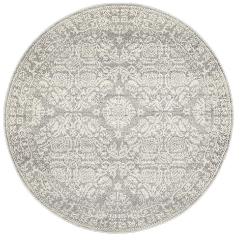 Malek Silver Grey Transitional Round Rug
