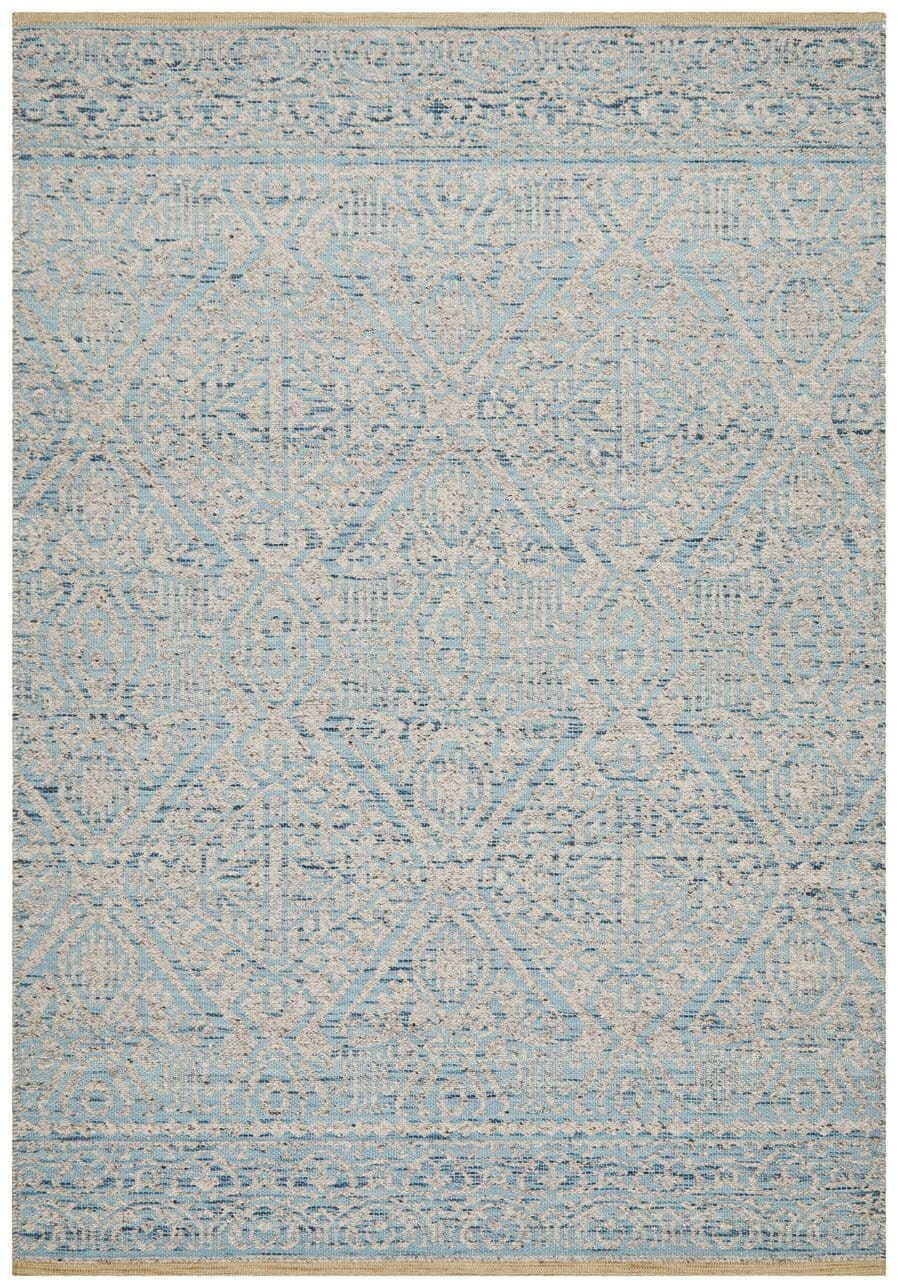 Malkara Blue and Beige Transitional Wool Rug