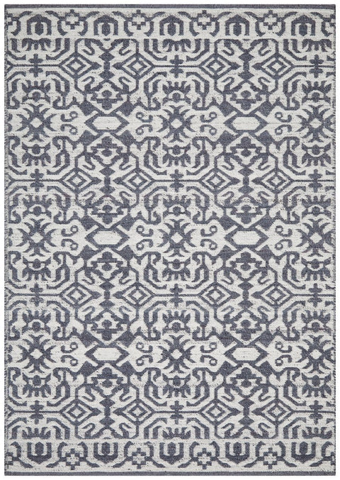 Manisa Navy & Silver Transitional Wool Rug