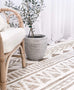 Marilia White and Natural Jute Blend Tribal Print Rug