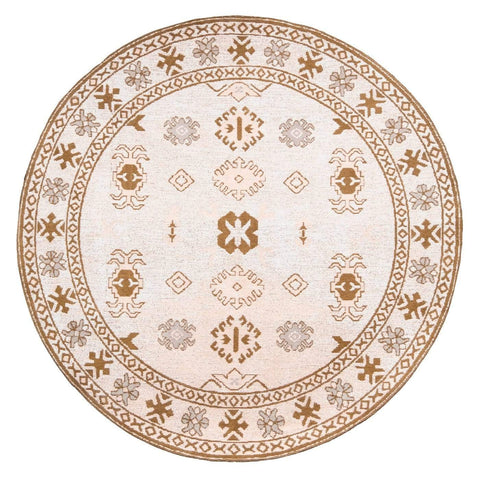 Mimi Peach and Beige Tribal Round Rug