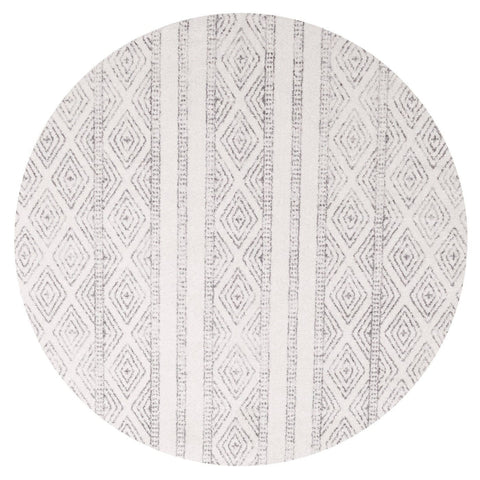 Moca Ivory & Grey Tribal Diamond Pattern Round Rug