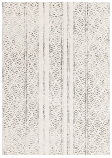 Moca Ivory & Grey Tribal Diamond Pattern Rug