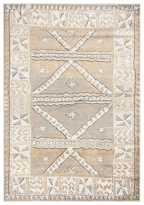 Moema Beige and Grey Transitional Tribal Rug