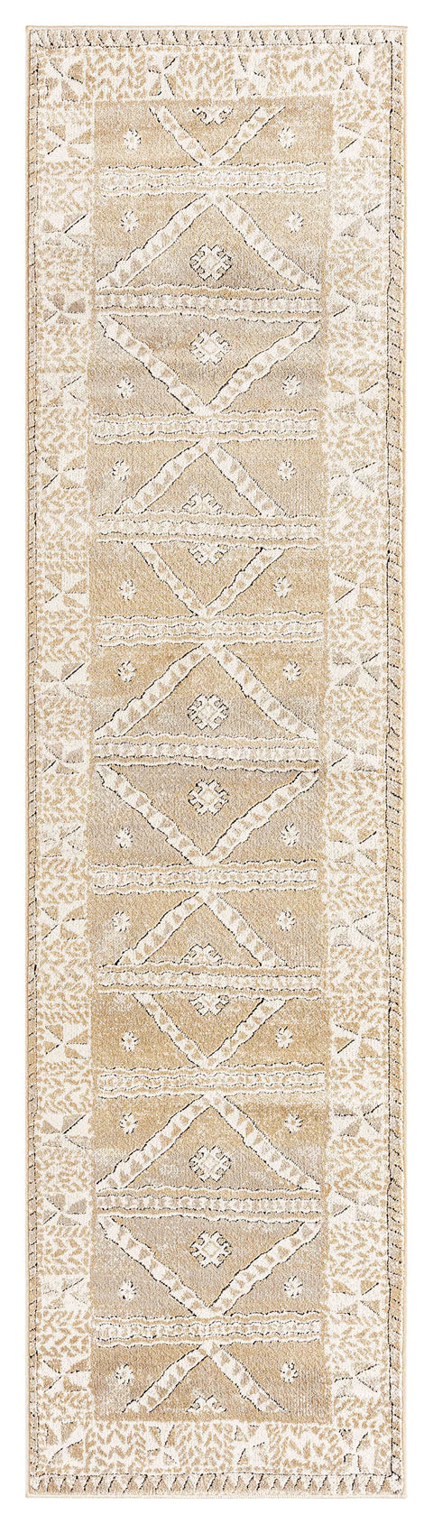 Moema Beige and Grey Transitional Tribal Runner Rug