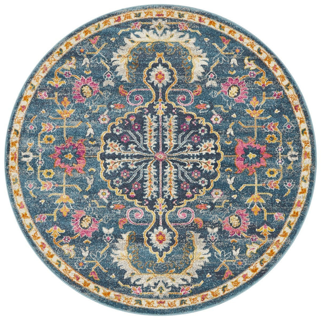 Montelimar Navy Round Traditional Medallion Rug