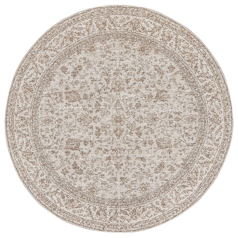 Moselle Beige and Brown Floral Distressed Round Rug