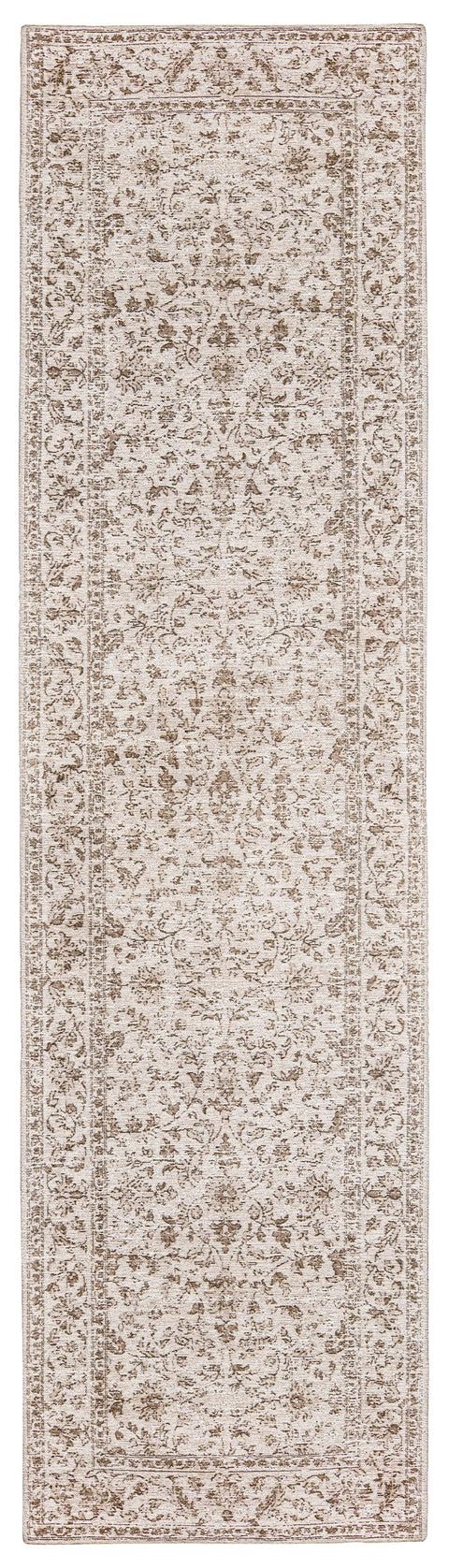 Moselle Beige and Brown Floral Distressed Runner Rug