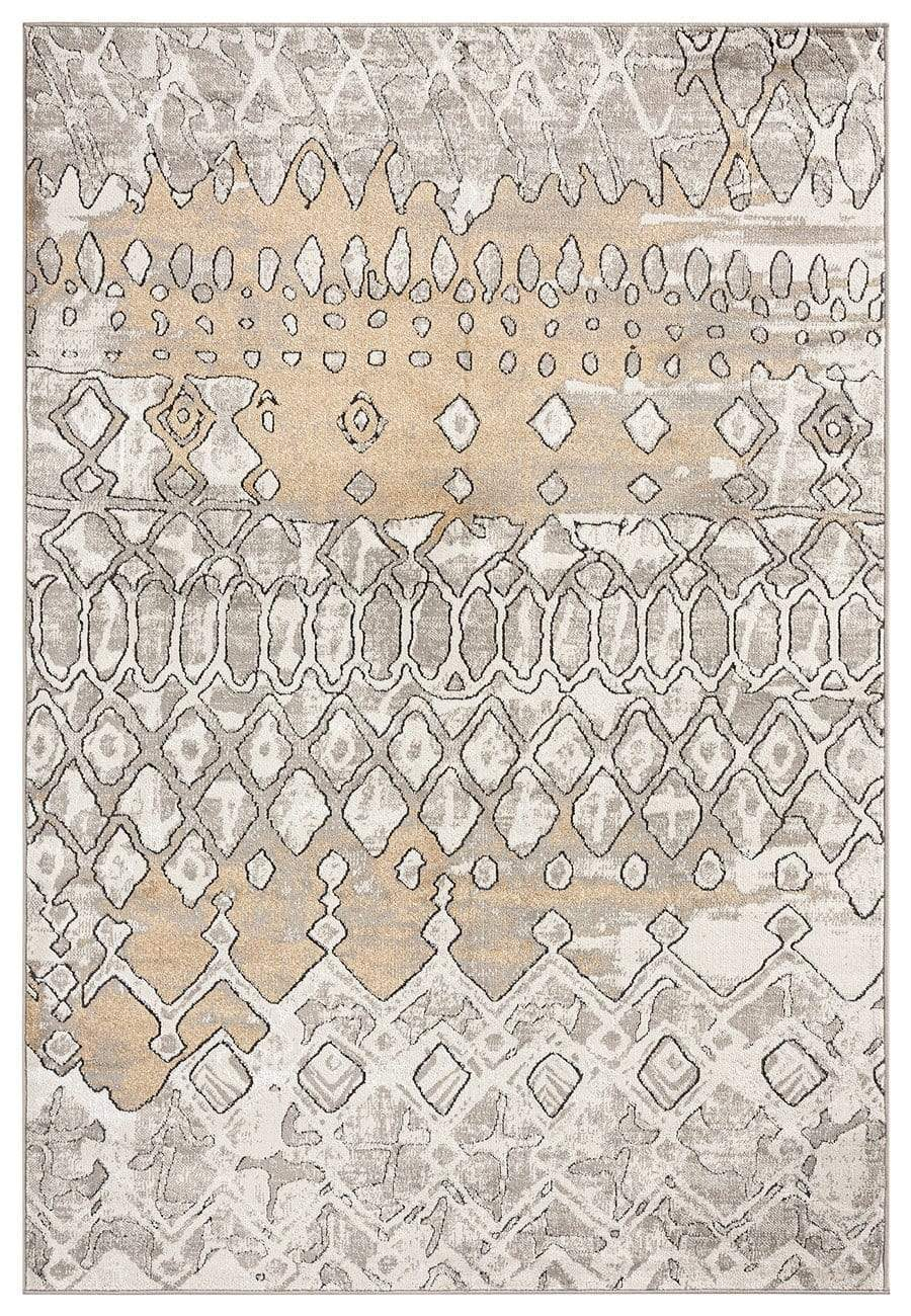 Naavya Beige and Grey Abstract Tribal Rug