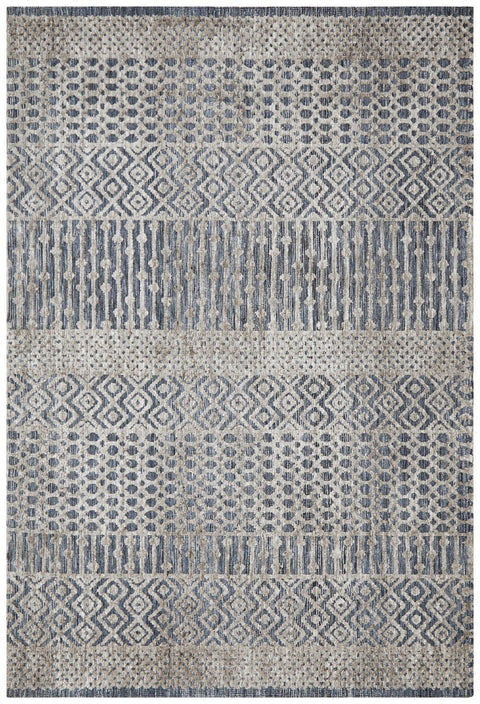 Nakur Blue and Grey Tribal Transitional Rug