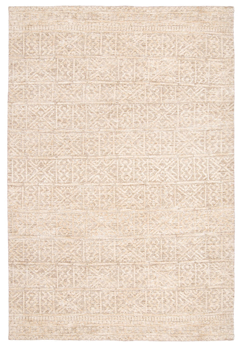 Naomi Ivory Grey and Brown Tribal Textured Rug