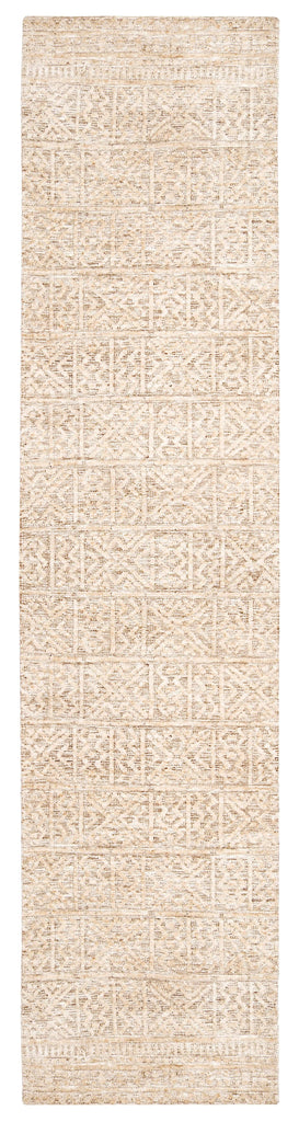 Naomi Ivory Grey and Brown Tribal Textured Runner Rug