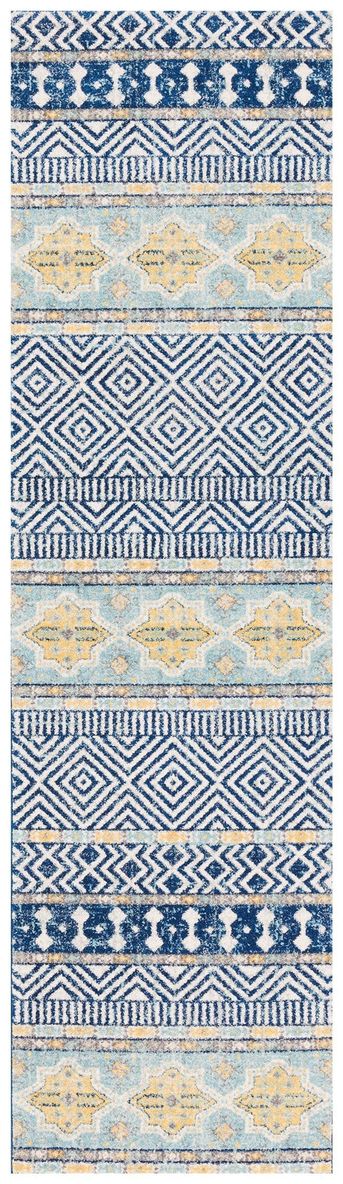 Natal Navy & Yellow Tribal and Medallion Pattern Runner Rug
