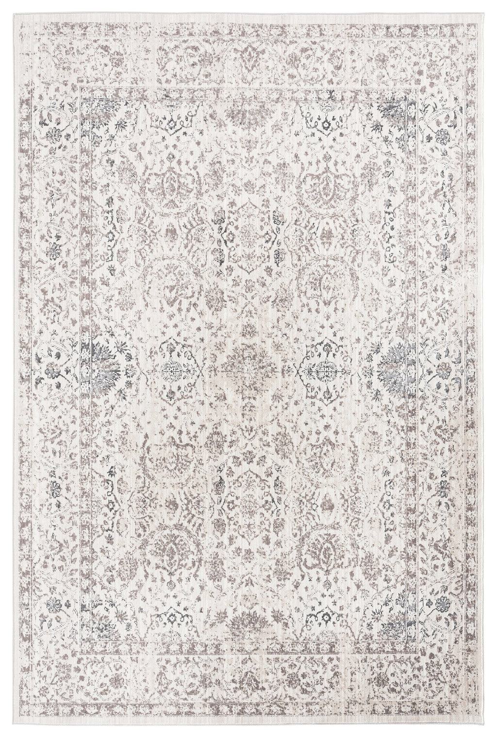 Natasha Cream and Silver Grey Traditional Floral Rug