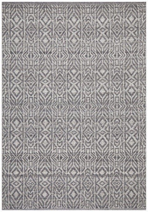 Nazilli Charcoal Grey Tribal Wool Rug