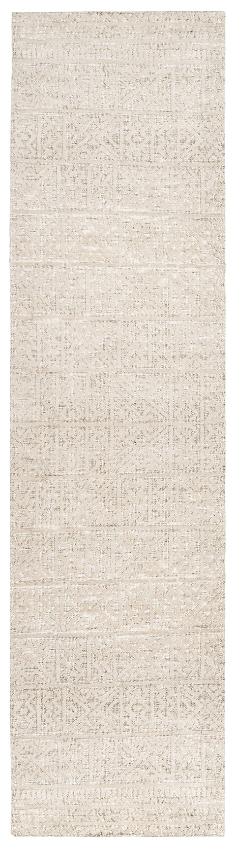 Neewa Beige and Ivory Tribal Transitional Runner Rug