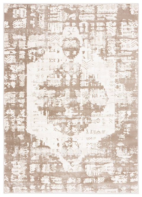 Niaran Beige and Ivory Distressed Tribal Rug