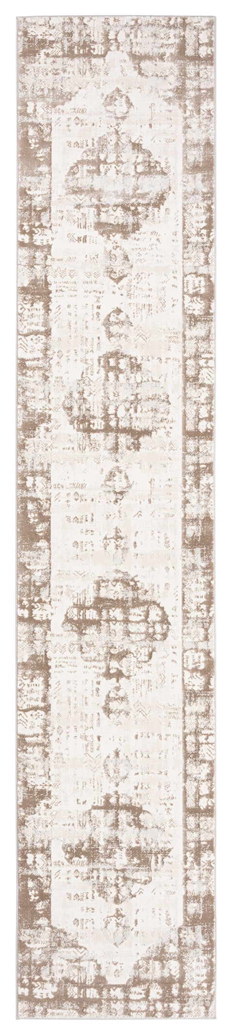 Niaran Beige and Ivory Distressed Tribal Runner Rug