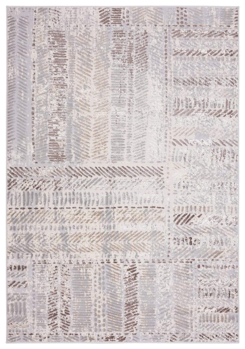 Nishem Brown Grey and Ivory Distressed Tribal Rug
