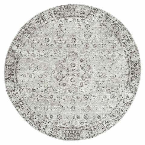 Nousha Black and White Transitional Round Rug